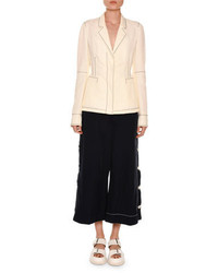 Stella McCartney Topstitched Single Breasted Jacket Pure Whitenavy