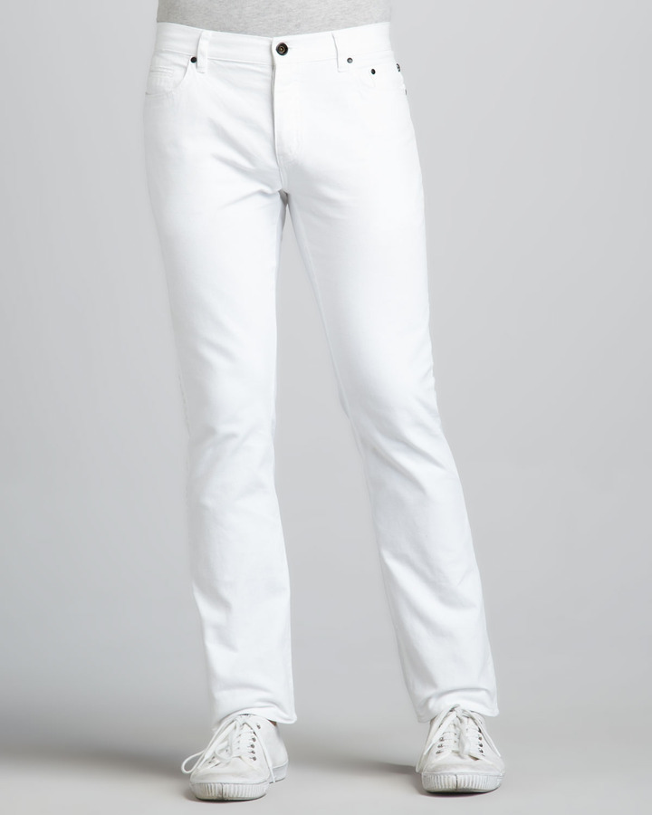 John Varvatos Skull Rivet White Jeans | Where to buy &amp how to wear