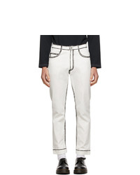 Daniel W. Fletcher Off White Painted Edge Jeans
