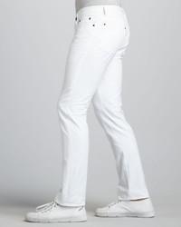 John Varvatos Skull Rivet White Jeans