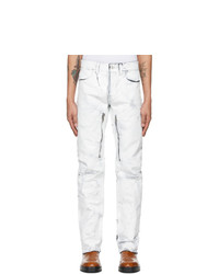 Givenchy White Crackled Painted Zip Jeans