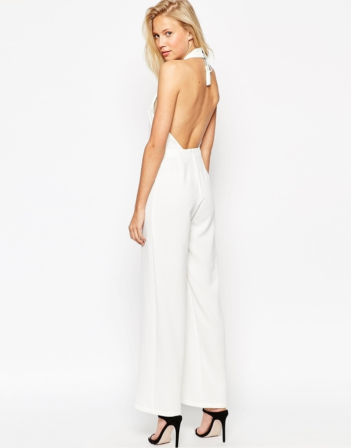 94b73a36397a ... Asos Collection Backless Jumpsuit With High Neck And Tassle Back ...