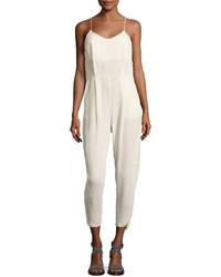 Brunello Cucinelli Crepe Sable High Waist Jumpsuit White