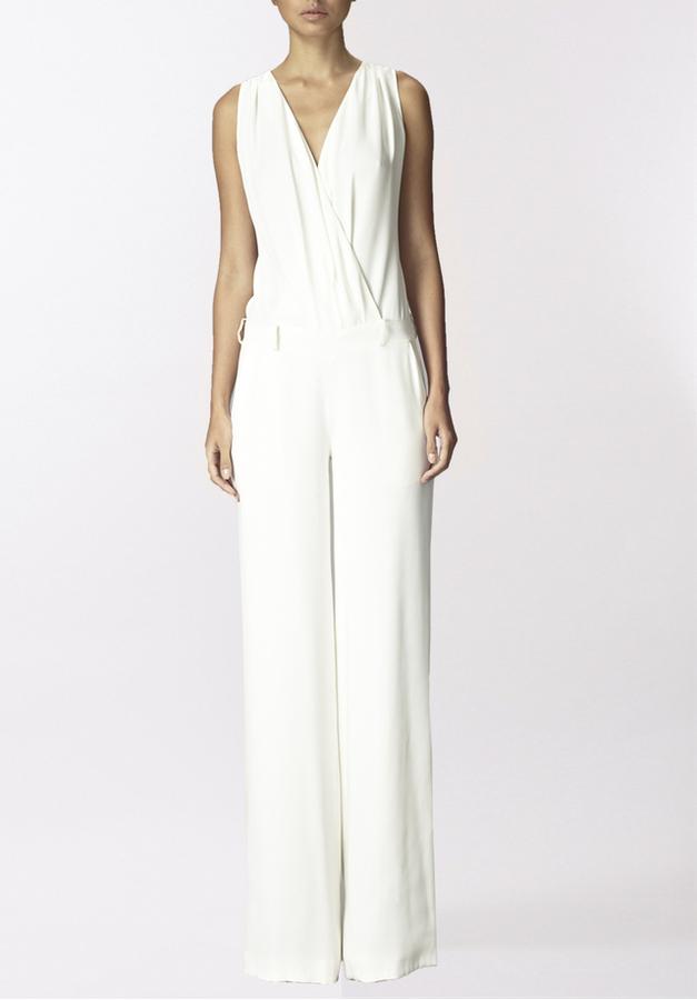 huge selection of af1c8 4b57b Gomez Gracia Ivory Silk Sleeveless Jumpsuit