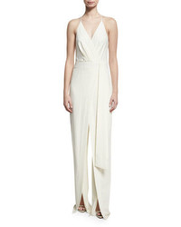 Halston Heritage Sleeveless Faux Wrap Stretch Crepe Jumpsuit