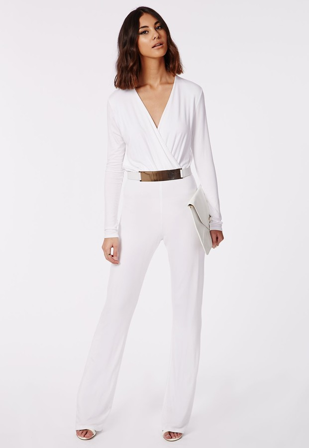e6905a4386b6 Missguided Deliana Long Sleeved Wrap Wide Leg Jumpsuit White, $49 ...