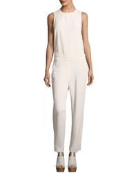 Brunello Cucinelli Open Back Silk Blend Jumpsuit White