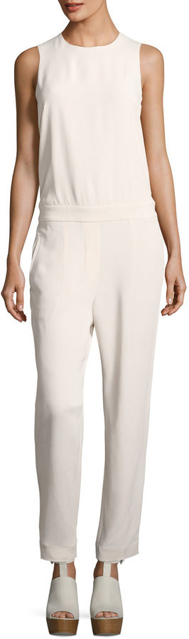 Brunello Cucinelli Open Back Silk Blend Jumpsuit White