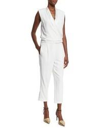 Brunello Cucinelli Shawl Collar Sleeveless Crepe Jumpsuit White