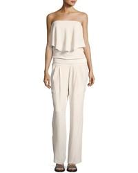 Brunello Cucinelli Strapless Popover Silk Crepe Jumpsuit White