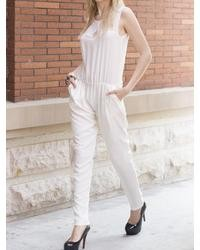 Choies White Jumpsuit With Elastic Waist