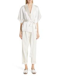 Brunello Cucinelli Embellished Lapel Satin Kimono Jacket