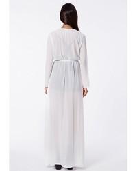 5d7886a96c96 Missguided Periana Long Sleeve Maxi Kimono White, $49 | Missguided ...