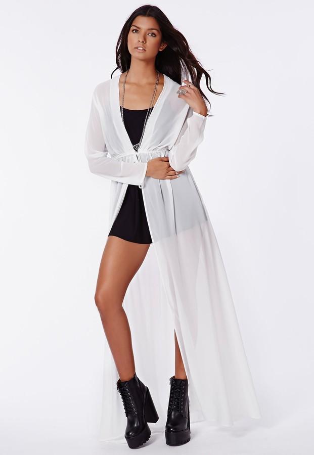 8440b2e23 Missguided Periana Long Sleeve Maxi Kimono White, $49 | Missguided ...