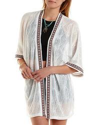 Charlotte Russe Serape Trimmed Kimono Cardigan