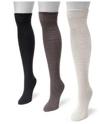 Muk Luks 3 Pk Diamond Over The Knee Boot Socks