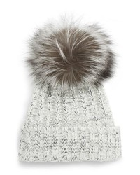 KYI KYI Cable Knit Beanie With Genuine Fox