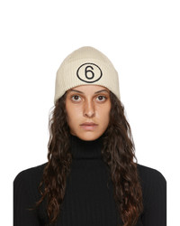 MM6 MAISON MARGIELA Off White Logo Beanie