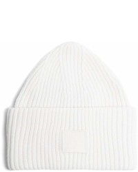Acne Studios Pansy S Face Ribbed Knit Beanie Hat