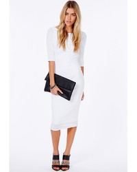missguided natcha white ribbed mesh midi dress with scoop