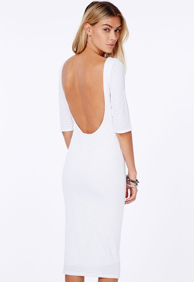 1ba14885cbcf ... Missguided Natcha White Ribbed Mesh Midi Dress With Scoop Back ...
