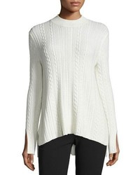 Theory Friselle Cable Knit Vented Sweater Ivory