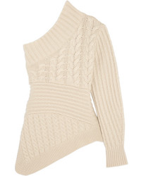 Burberry One Shoulder Cable Knit Cashmere Sweater Ivory