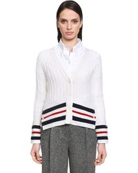 Cashmere cable knit cardigan w stripes medium 4418369