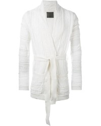 Laneus Cable Knit Robe Style Tie Up Cardigan