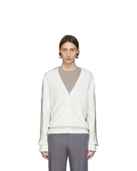 Maison Margiela Off White And Brown Knit Cardigan