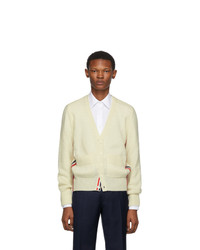 Thom Browne Off White Wool Stripe Relaxed Fit V Neck Cardigan