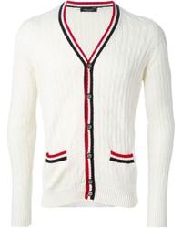 Roberto Collina Cable Knit Striped Trims Cardigan