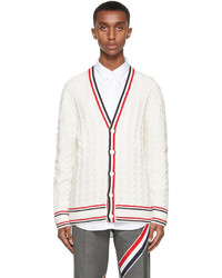 Thom Browne White Heritage Cable Rwb Stripe Relaxed Fit Cardigan
