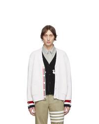 Thom Browne White Merino Wool Funmix Stitch Chunky V Neck Cardigan