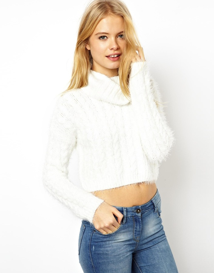 Asos Collection Cropped Roll Neck Sweater In Fluffy Cable Yarn ...