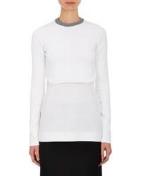 Edun Compact Knit Cropped Sweater White