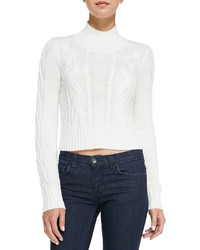 Neiman Marcus Cusp By Cable Knit Mock Turtleneck Crop Sweater Winter White