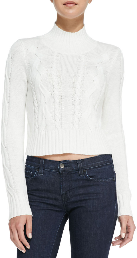 Neiman Marcus Cusp By Cable Knit Mock Turtleneck Crop Sweater ...