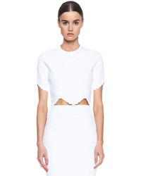 Alexander McQueen Embossed Knit Crop Top In White