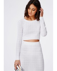 Missguided Cropped Grid Stitch Knitted Sweater White | Where to ...