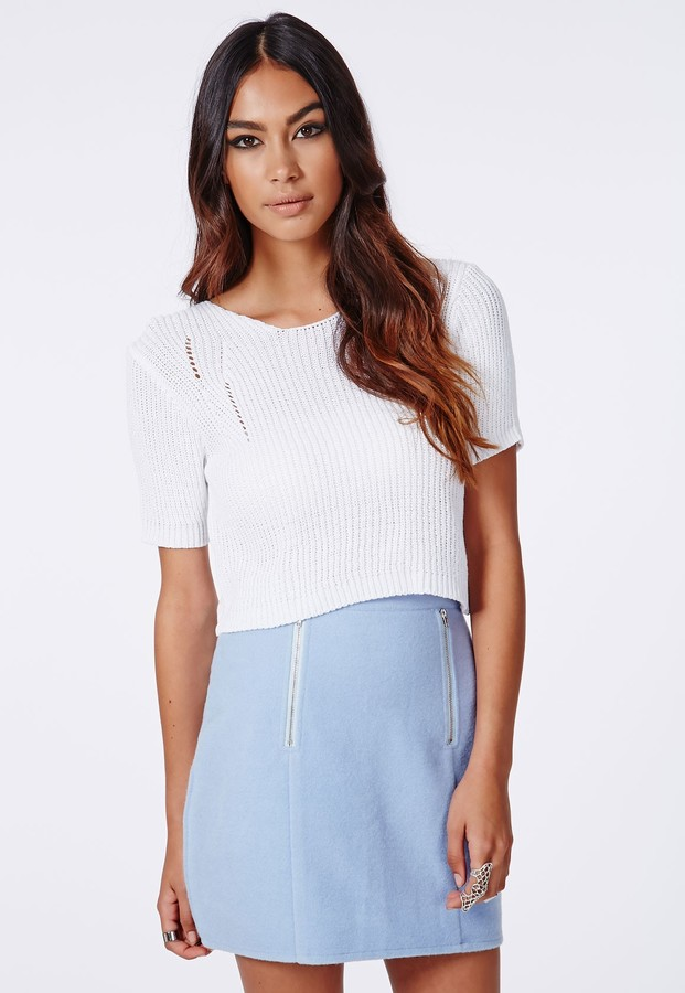 Missguided Diora Short Sleeve Cropped Knit In White | Where to buy ...