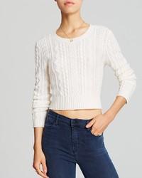 Aqua Sweater Cable Cropped Cashmere