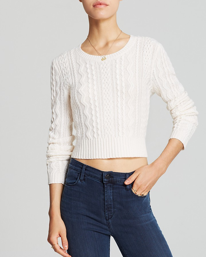 Sweater Cable Cropped Cashmere