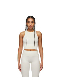 Reebok By Victoria Beckham Off White And Beige Seamless Cropped Tank Top