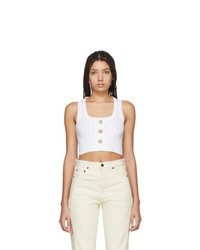 Balmain White Knit Crop Tank Top