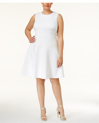 Calvin Klein Plus Size Seamed Scuba Fit Flare Dress