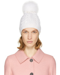 Yves Salomon Ivory Cable Knit Fur Pom Pom Beanie