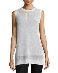 Eileen Fisher Sleeveless Linen Jewel Neck Fishermans Knit Tunic