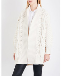 Burberry Camrosebrooke Cable Knit Wool And Cashmere Blend Cardigan