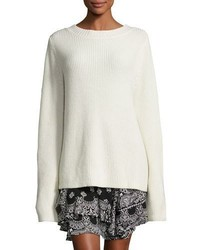 A.L.C. Markell Ribbed Wool Cashmere Sweater White